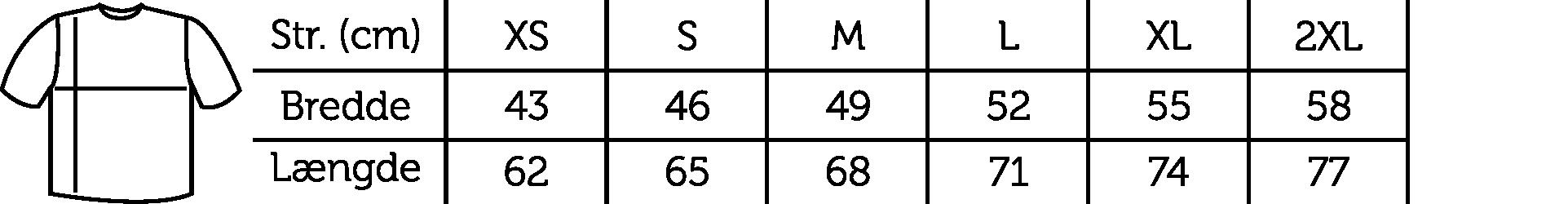 Størrelsesguide BM Shape Tee Long Sleeve